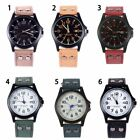 Casual Men's Sport Watches Army Military Leather Band Quartz Wrist Watch US image