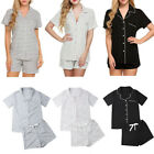 US Sexy Woman Summer Short Sleeve Pajamas  Leisure Motion Pajama T-Shirt Set