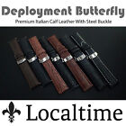 Localtime Italian Calf Leather Watch Strap Steel Deployment Butterfly 18 20 22mm