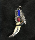 Tibetan antiques Wolf's teeth Bear claw Tibetan silver mosaic Red pine amulet