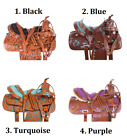 Western Saddle 15 16 17 18 14 Black Turquoise Purple Inlay Leather Horse Tack