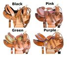 Round Skirt Saddle 16 15 14 Pink Purple Black Barrel Racing Leather Horse Tack