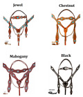 Western Headstall Reins Breast Collar Horse Pro Leather Blue Turquoise Diamond