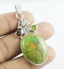 Solid 925 Sterling Silver Natural Green Copper Turquoise Gemstone Pendent 4.5CM