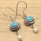 925 Silver Overlay  Simulated LARIMAR Stone & PEARL Beads FRENCH WIRE Earrings