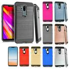 For LG Smartphones Tough Brushed Metal HYBRID Rubber Case Phone Cover Accessory