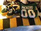 GREEEN BAY PACKERS COLLECTION, CARRY BAG,SLIPPERS , HAND KNITTED SCARF