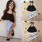 US Toddler Kid Baby Girl Clothes Strap Tops Stripe Long Pants Summer Outfits Set