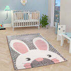 Nursery Rug Grey Kids Animal Rug Soft Unisex Baby Play Mat Childrens Room Carpet
