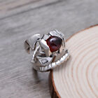 A01 Ring Silver 925 in the Form of a Skorpions with Garnet Red Adjustable Size