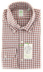 New $375 Finamore Napoli Red Plaid Shirt - Extra Slim - (2018030210)