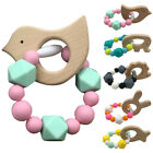 Unisex Baby Ring DIY Gift Wooden Toys Food Grade Silicone Infant Teething Cute