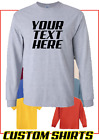 Personalized Custom Print Your Own Text Long Sleeve T-Shirt Customized Tee  image