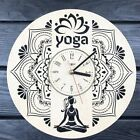 Creative Yoga Gym Large Wooden Wall Clock Decorative Art Cool Design Women Gift