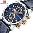 MINI FOCUS Mens Casual Leather Watches Chronograph Day Quartz Wristwatch MF0161G image