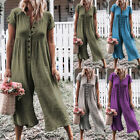 Women Short Sleeve Loose Baggy Trousers Overalls Pants Solid Romper Jumpsuit
