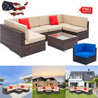 Home Weaving Rattan Sofa Furniture Set Outdoor Garden Coffee Chair Tea Table Us
