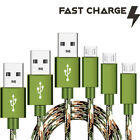 3 Pack 4,6,10ft CAMO Tactical Micro USB FAST Charger Cable for Motorola Phones