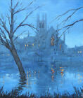 original oil painting :nocturne, worcester cathedral, severn in flood