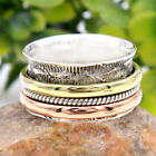 THREE TONE-MEDITATION SPIN Ring Solid 925 Sterling Silver Jewelry Choose Size