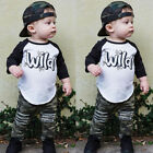 USA Spring Toddler Baby Boys Clothes Top T-Shirt Camouflage Ripped Pants Outfits