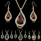 Jewelry Set Waterdrop Crystal Stone Earrings Pendant Necklace Golden Chain Code