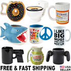 Funny Coffee Mug Ceramic Tea Cup Toilet Bowl Prescription Donut Shark Gamer Gun