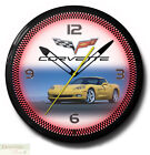 "CORVETTE C6 Yellow Genuine Neon 20"" Wall Clock Made in USA - 1 Year Warranty New"