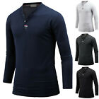 Mens Slim Fit Stylish Henley V Neck Long Sleeve Tee T-shirt Top Blouse B01 S-XL