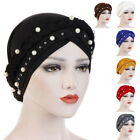 Muslim Women Hijab Turban Hat Lady Pearl Beaded Bonnet Cancer Chemo Cap Headwear