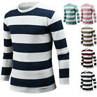 NEW Mens Slim Fit Crew Neck Stripe Long Sleeve Tee T-shirt Tops Blouse B06 XS-XL
