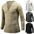 Mens Stylish Slim Fit Henley Zip Neck Long Sleeve Tee T-shirt Top Blouse B07 S/M