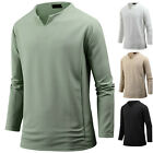 New Mens Stylish Solid V Neck Long Sleeve Tee T-shirt Tops Blouse B17 S/M/L/XL