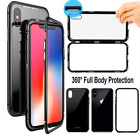 360 Full Magnetic Adsorption Metal Flip 9H Glass Back Case For Phone XS Max XR