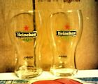 2 Heineken clear glass tumblers beer drinking  glasses 5 inches