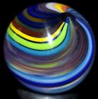 """JODY FINE HANDMADE GLASS MARBLE/.918""""-FALL TWISTED RIBBON DOUBLE-RED,LIME,YELLOW"""