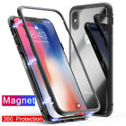 Magnetic Adsorption metal case for phone Xs Max  luxury tempered glass cover