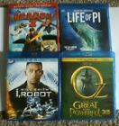 (4) 3D BLU RAY MOVIES (LIFE OF PI,I,ROBOT,DRAGON 2 & OZ THE GREAT & POWERFUL )