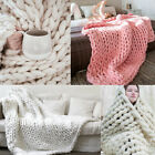 USA Handmade Chunky Cozy Soft Knitted Blanket Wool Thick Yarn Merino Home Decor image