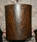 """10 """"Old Chinese Huanghuali Wood Carving Dynasty Palace Ghost Eyes Pencil Vase"""