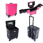 "Portable 19"" PVC Rolling Makeup Cosmetic Train Case Storage Lockable Pink/Black"