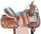 Cowgirl Western Barrel Racing Pleasure Trail Leather Horse Tack Saddle Set 15 16