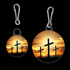THREE CROSSES 32001 button earrings necklace ponytail Christian easter jewelry