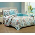 Full Queen King Bed Blue Coral Starfish Coastal Seashell Nautical 5 pc Quilt Set