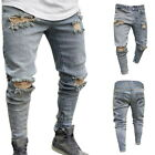 Mens Mid-waist Skinny Jeans High Street Trousers Male Denim Ripped Hole Trouser