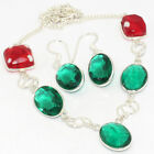 W322  Green Quartz & Silver Plated Necklace & Earrings Sets Jewellery