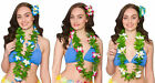 Ladies Girls Green Leaf Lei with Flowers Hawaiian Summer Holiday Beach Party Lei