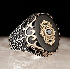 Turkish 925 Sterling Silver Popular black onyx stone mens ring ALL SİZE usa 654