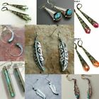 Vintage Boho Tibetan 925 Silver Turquoise Dangle Hook Earrings Women Jewelry image