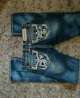Rock Revival Gloria 25 boot cut jeans buckle jean bling size 2 distress stretch